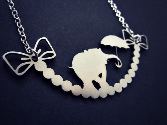 Elephant necklace - silver tone stainless steel silhouette statement necklace - circus jewelry
