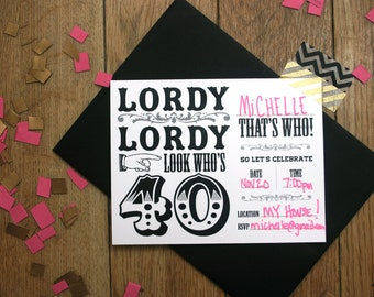 Digital 40th Birthday party invitations - Instant Download