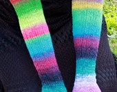 Luxury Hand-Knit Rainbow Arm-Warmers, Fingerless Gloves, Texting Gloves, Opera-Length, 100% Wool, Mori Kei, Forest Girl