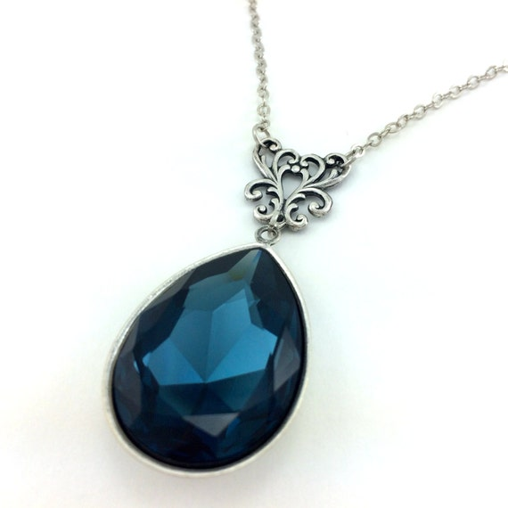 Swarovski Elements Dark Blue Crystal Necklace - Antique Silver Necklace - Blue Crystal Jewelry - Navy Blue Crystal - Bride Something Blue