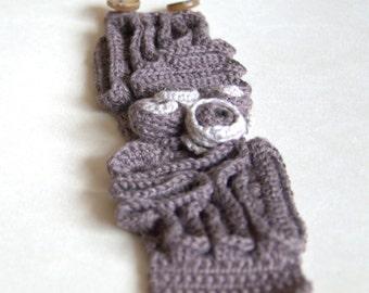 Crochet linen bracelet pale brown cuff wrist Valentine gift for her textile handmade UK Birthday gift for her her Mom