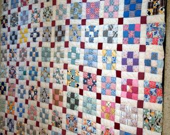Antique Nine square Patch Quilt