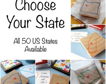 From Your State, With Love - UNMOUNTED - Hand Carved Rubber Stamp