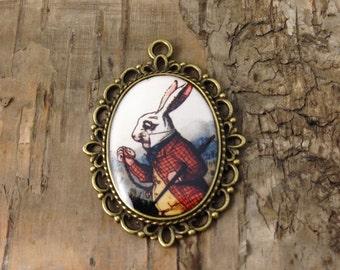 "Bold Vintage illlustration bronze cameo ""The White Rabbit"" pendant - Alice in Wonderland jewelry"