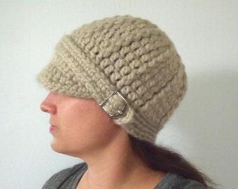 Linen Womens Hat Linen Hat Linen Womens Beanie Linen Beanie Linen Womens Cap Linen Cap Chunky Crochet Winter Hat Knit Fall Hat Silver Buckle