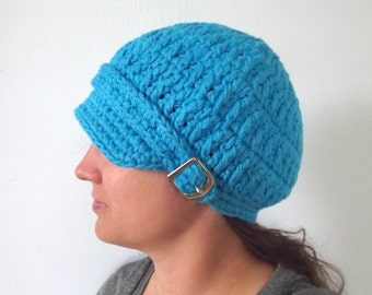 Womens Newsboy Hat Bright Blue Newsboy Cap Blue Hat Blue Cap Womens Hat Crochet Newsboy Winter Hat Winter Cap Fall Hat Fall Cap Buckle