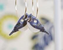Blue jay earrings, cute bird earrings, little bird dangles