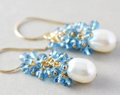 White Pearl Dangle Earrings, Blue Topaz Cluster Earrings, June Birthstone, Handmade