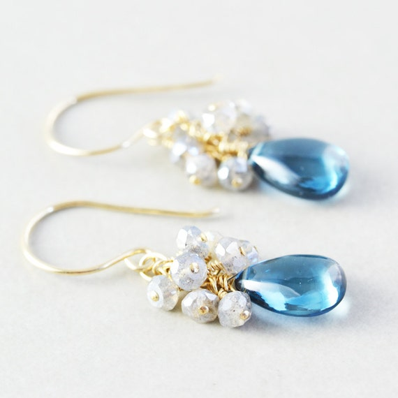 Blue Topaz Drop Earrings, Labradorite Cluster Earrings, December Birthstone, Topaz Dangle Earrings