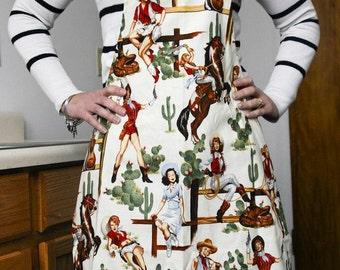 Handmade Unisex Apron Cowgirl White Alexander Henry