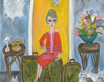 She always arrived with lots of baggage.  Limited edition print by Vivienne Strauss.