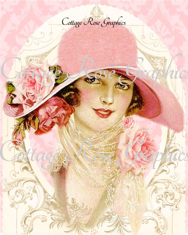 Vintage Pink Hat Victorian Lady Roses Large Digital Download