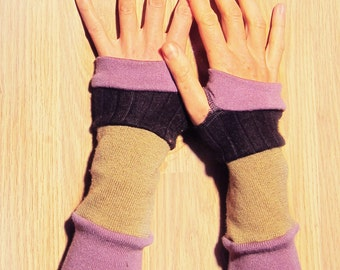 Striped Arm Warmers - Violet and Black