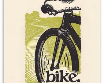 bike.  an 11x14 letterpress print.