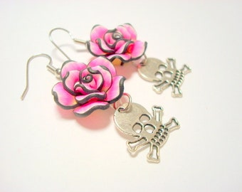 Pink and Black Rose with Silver Crossbones and Skull Earrings