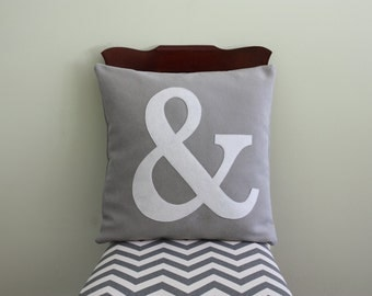Alphabet Pillow - Case + Insert // Ampersand Pillow // Initial // Monogram // Personalized // Letter Pillow // Gray and White