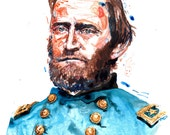 Watercolor painting-portrait of Union Civil War Ulysses S. Grant