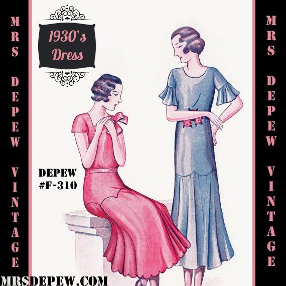 1930s Fashion Colors & Fabric  1920s 1930s Dress in Any Size - Plus Size- Draft at Home Pattern Depew F-310 -INSTANT DOWNLOAD- $8.50 AT vintagedancer.com