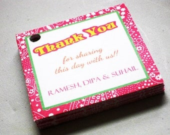 15 Thank You Personalised Tag Cards-Bollywood Collection