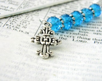 Ornate Cross Bookmark with Blue Glass Beads