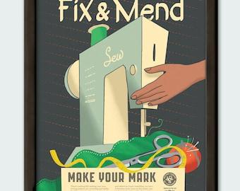 Fix & Mend - 11x14 poster print