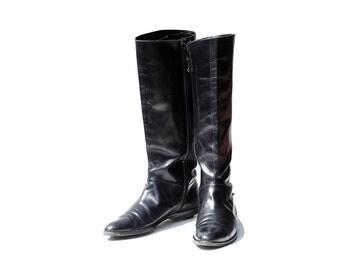 Size 5.5 Ferragamo Black Leather Tall Boots