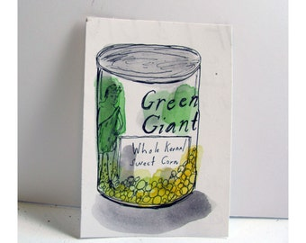 Canned food, drawing on paper