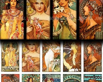 "MUCHA TILES - Digital Printable Collage Sheet - 1"" x 2"" Tiles - Alphonse Mucha, Art Nouveau Paintings, Pendant Images, Digital Download"
