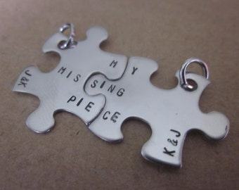 My Missing Piece mini puzzle pieces Keychains or charms set of two puzzle pieces with initials