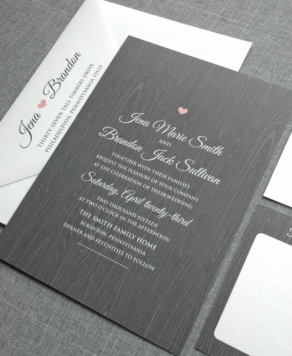 Jena Gray Woodgrain Rustic Wedding Invitation Sample