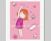 Nursery art print, baby girl nursery decor, girls art, baby shower gift, kitchen art, cupcake painting, red hair - Making Cupcakes