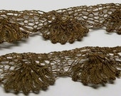 1/3 Yard METALLIC Gold Torchon Fan LACE Trim 1 Inch Wide Breathtaking Antique Rare Dark Patina 18th - 19th Century from France