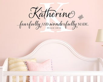 Monogram personalized with scripture child name and Psalm 139:14 - vinyl wall decal, nursery decal
