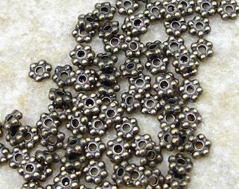 100 3mm Flat Daisy Spacer Antique Brass Beads - Brass Oxide Heishi Beads Antique Bronze Beads Bali Beads TierraCast Metal Beads  (PAS1)