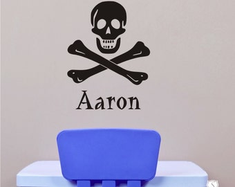 Pirate Wall Decals Skull and Crossbones - Personalized Name Vinyl Wall Stickers Art