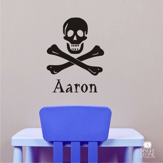 pirate wall decals skull and crossbones personalized name. Black Bedroom Furniture Sets. Home Design Ideas