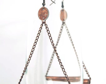 Penny Earrings with Handmade Copper Tube Bead Hanging from Chain forming Large Triangle