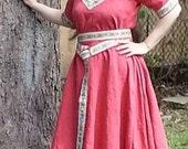 Linen Short Sleeve Trimmed Dress and Belt  Custom Medieval SCA LARP Renaissance Pagan