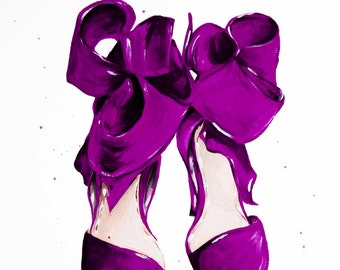 The Purple Shoes Print of Original Fashion Illustration