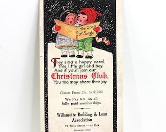 1920s Christmas Club Advertisement Children Caroling
