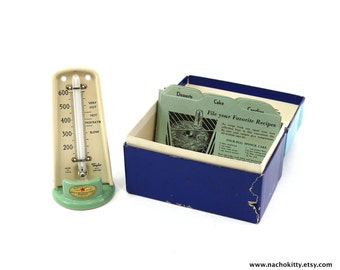 1930s Oven Set Thermometer & Vintage Recipe Box by Taylor