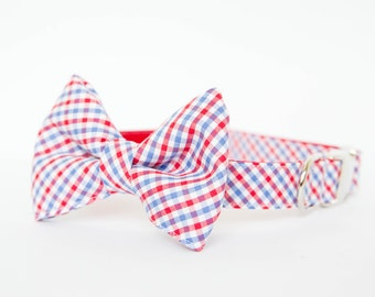 Ole Miss Bow Tie Dog Collar in Gingham