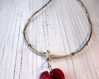Red Swarovski Heart Necklace, Sterling Silver