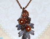 Fall Autumn Oak Leaf Antiqued Copper Finished Pewter Charm Necklace - Fall Jewelry Pine Cone Jewelry Oak Leaf Jewelry