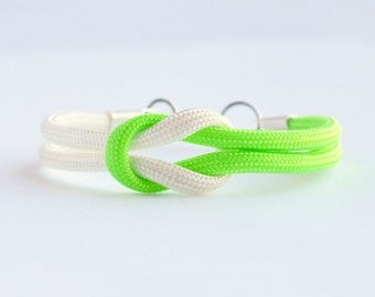 Neon lime green and white forever knot parachute cord rope bracelet