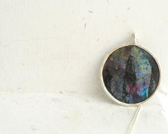 Mini Painting Jewelry, Black Circle Pendant, Star Celestial Necklace