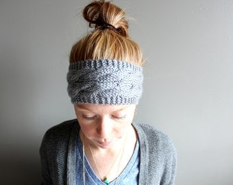 womens knit headband in DOVE GREY (double cable - vegan friendly)