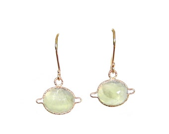 PREHNITE SATURN Earrings, dahlia faceted handmade with recycled 14k gold