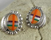 Zuni Native American inlaid Spiny Oyster and Sterling Earrings