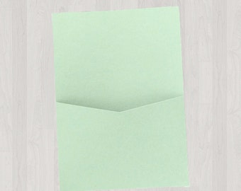 10 Flat Pocket Enclosures - Mint & Light Green - DIY Invitations - Invitation Enclosures for Weddings and Other Events